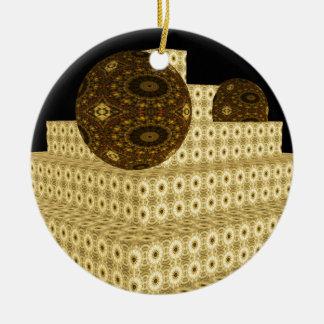 Ornamento De Cerâmica O caleidoscópio 3D pisa e globos, Brown floral