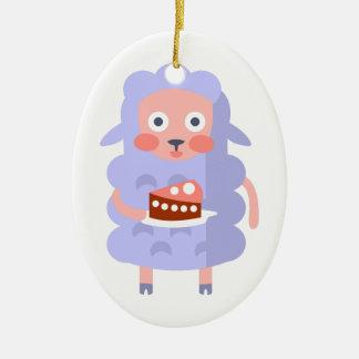 Ornamento De Cerâmica O carneiro com partido atribui S Funky estilizado