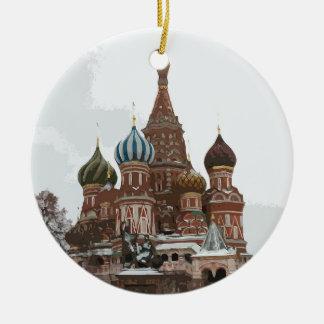 Ornamento De Cerâmica O cathedral_russo da manjericão do santo