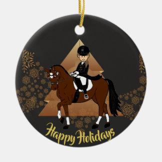 Ornamento De Cerâmica O cavaleiro do cavalo do adestramento ADICIONA A