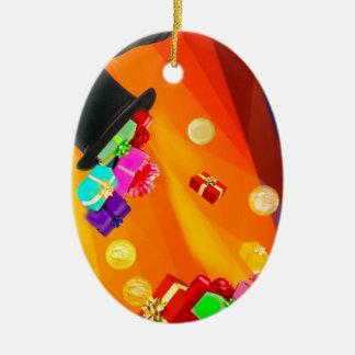 Ornamento De Cerâmica O chapéu do mágico traz-lhe presentes dourados
