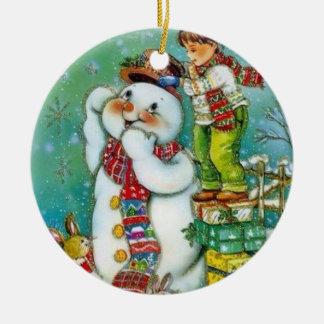 Ornamento De Cerâmica O chapéu novo do boneco de neve