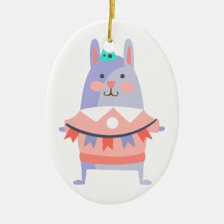 Ornamento De Cerâmica O coelho com partido atribui Funky estilizado