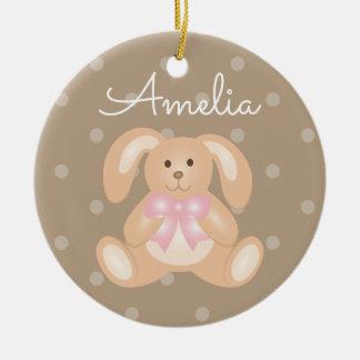 Ornamento De Cerâmica O coelho de coelho cor-de-rosa peluches bonito da