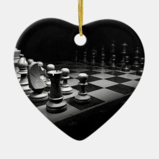 Ornamento De Cerâmica O conselho branco preto do rei xadrez das partes