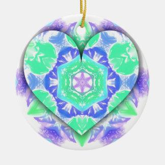 Ornamento De Cerâmica O coração legal do verde 3d da hortelã da lavanda