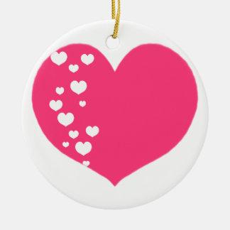 Ornamento De Cerâmica O coração segue o branco cor-de-rosa
