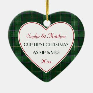 Ornamento De Cerâmica ø Coração verde casado Natal do presente da xadrez