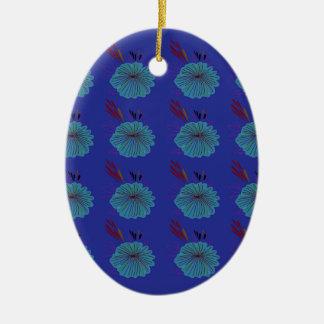 Ornamento De Cerâmica O design floresce o azul