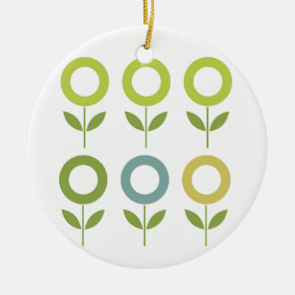 Ornamento De Cerâmica O design floresce o verde no branco