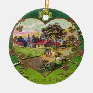 Ornamento De Cerâmica O dia retro de St Patrick do irlandês do vintage