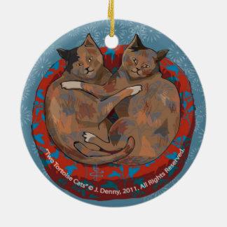 Ornamento De Cerâmica O dobro de dois gatos da concha de tartaruga…