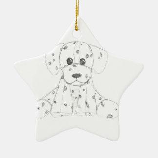 Ornamento De Cerâmica o doodle simples do cão caçoa o dalmatian branco