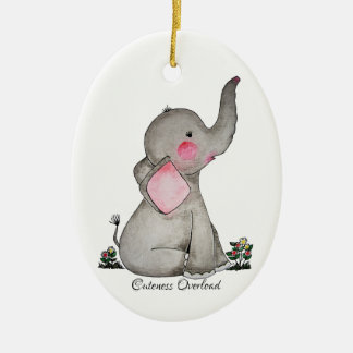 Ornamento De Cerâmica O elefante bonito do bebê da aguarela com cora &