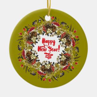 Ornamento De Cerâmica O feliz ano novo
