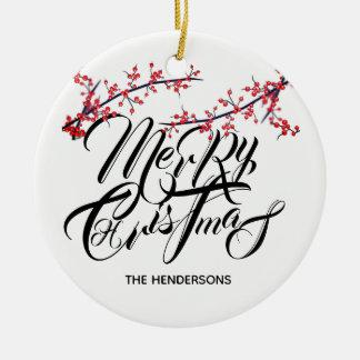 Ornamento De Cerâmica O feliz ano novo do Feliz Natal com nome & data -