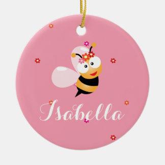 Ornamento De Cerâmica O florista cor-de-rosa feminino bonito Bumble