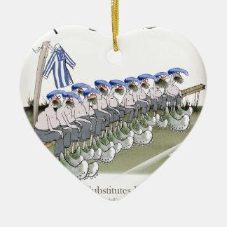 Ornamento De Cerâmica o futebol substitui listras brancas azuis