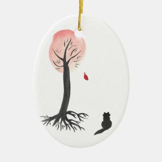 Ornamento De Cerâmica O gatinho olha a folha de queda