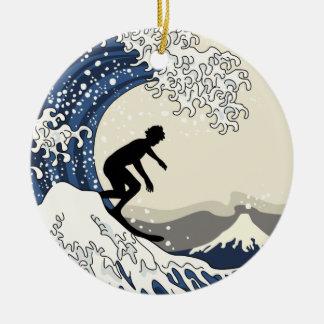 Ornamento De Cerâmica O grande surfista de Kanagawa