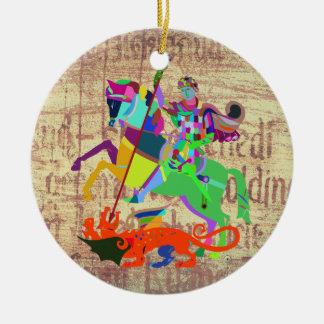 Ornamento De Cerâmica O guerreiro mata um dragão