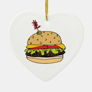 Ornamento De Cerâmica O hamburguer do queijo de luxe personaliza