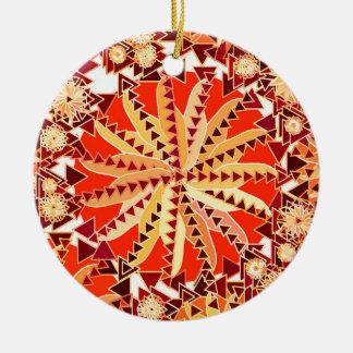 Ornamento De Cerâmica O impressão tribal da mandala, oxida laranja e