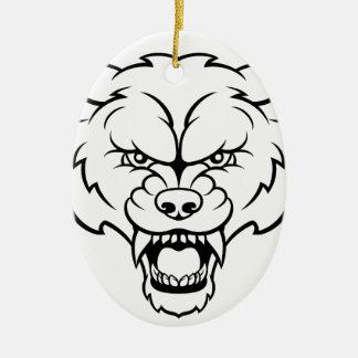Ornamento De Cerâmica O lobo ostenta a cara irritada da mascote