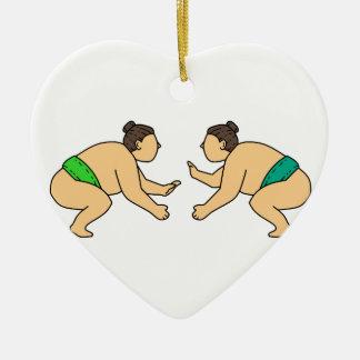 Ornamento De Cerâmica O lutador do Sumo de Rikishi enfrenta fora a mono