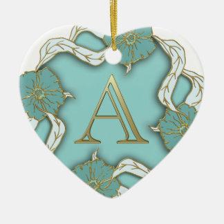 Ornamento De Cerâmica O melhor fundo do monograma da inicial da letra do
