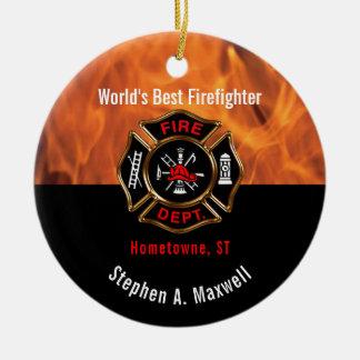 Ornamento De Cerâmica O melhor sapador-bombeiro do mundo arde a foto da