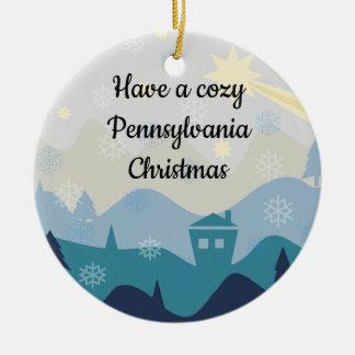 Ornamento De Cerâmica O Natal acolhedor de Pensilvânia deseja o