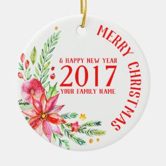 Ornamento De Cerâmica O Natal colorido floresce o modelo do buquê & do