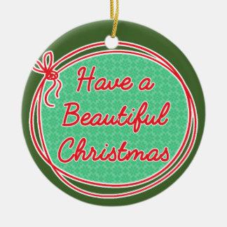 Ornamento De Cerâmica O Natal de Avon, tem um Natal bonito, verde