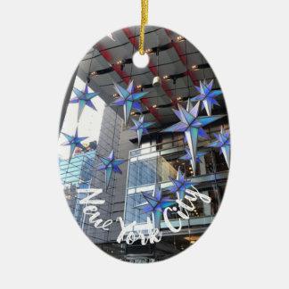 Ornamento De Cerâmica O Natal do círculo de Columbo da Nova Iorque Stars