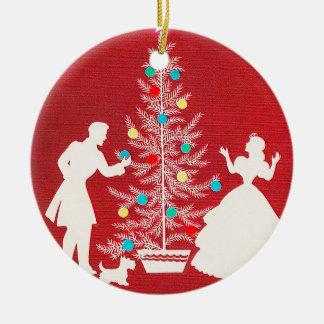 Ornamento De Cerâmica O natal vintage carda com Scottish Terrier