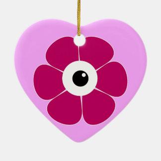 Ornamento De Cerâmica o olho da flor cor-de-rosa
