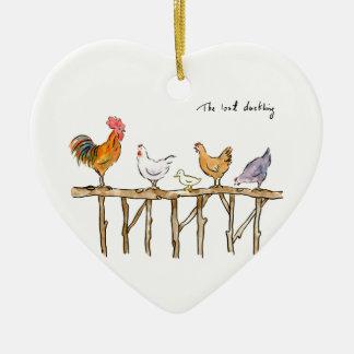Ornamento De Cerâmica O patinho, as galinhas e o patinho perdidos