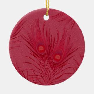 Ornamento De Cerâmica O pavão cor-de-rosa bonito empluma-se o teste