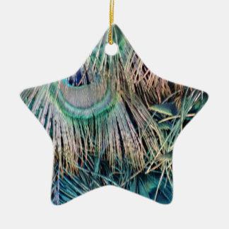 Ornamento De Cerâmica O pavão empluma-se o verde e o azul de Tan