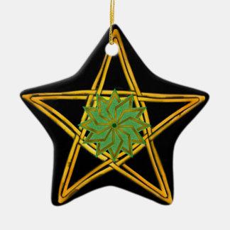 Ornamento De Cerâmica O Pentagram - ouro, verde, & preto - dobro tomou