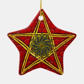 Ornamento De Cerâmica O Pentagram - ouro, vermelho & roxo - dobro tomou
