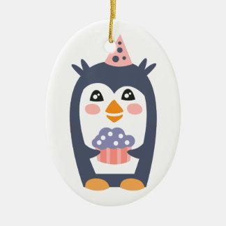 Ornamento De Cerâmica O pinguim com partido atribui Funky estilizado