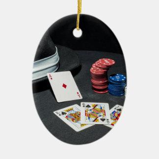 Ornamento De Cerâmica O póquer carda o chapéu do gângster