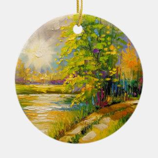 Ornamento De Cerâmica O por do sol sobre o rio