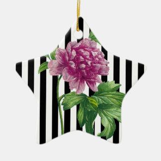 Ornamento De Cerâmica O preto cor-de-rosa da peônia listra o chique