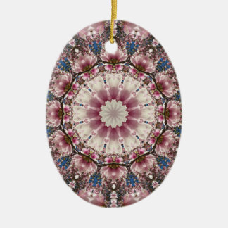 Ornamento De Cerâmica O primavera branco floresce 2,0, mandala da