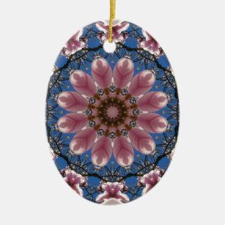 Ornamento De Cerâmica O primavera cor-de-rosa floresce 2.2.2, mandala da