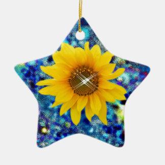 Ornamento De Cerâmica O primavera do girassol brilha presentes