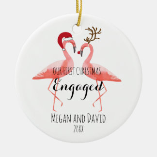 Ornamento De Cerâmica O primeiro Natal contratado ou casou flamingos